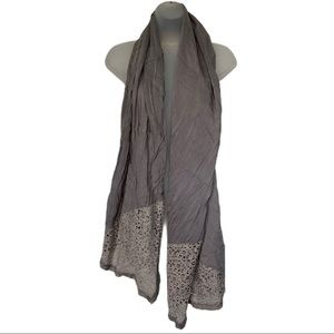 New Pretty Persuasions Gray Taupe Lace Scarf